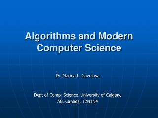 Algorithms and Modern Computer Science