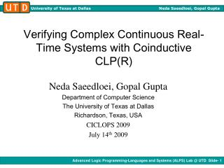Verifying Complex Continuous Real-Time Systems with Coinductive CLP(R)