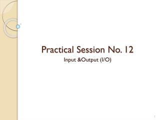 Practical Session No. 12
