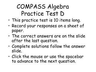 COMPASS Algebra Practice Test D