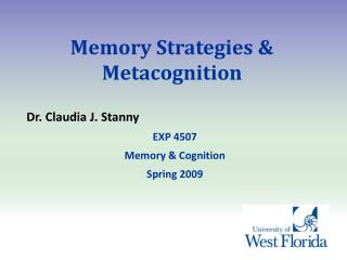 Memory Strategies & Metacognition