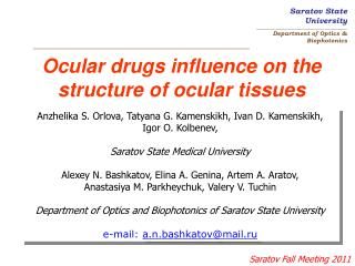 Ocular drugs influence on the structure of ocular tissues