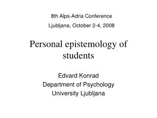 Personal epistemology of students