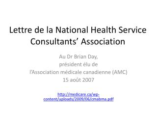 Lettre  de la National Health Service Consultants' Association
