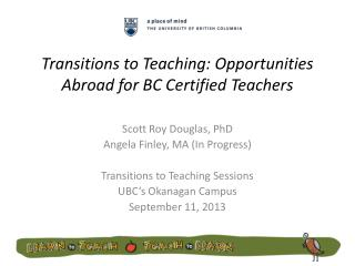 Transitions to Teaching: Opportunities Abroad for BC Certified Teachers