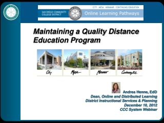 Maintaining a Quality Distance Education Program