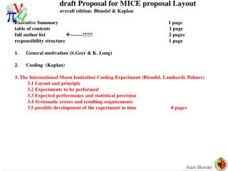 draft Proposal for MICE proposal Layout overall edition: Blondel & Kaplan