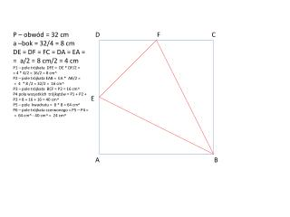 P – obwód = 32 cm a –bok = 32/4 = 8 cm DE = DF = FC = DA = EA = = a/2 = 8 cm/2 = 4 cm