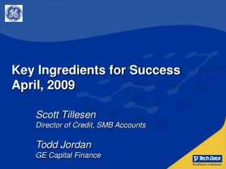 Key Ingredients for Success April, 2009