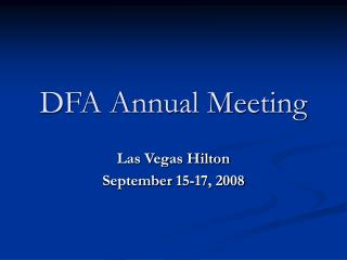 DFA Annual Meeting