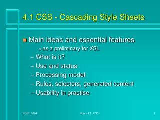 4.1 CSS - Cascading Style Sheets