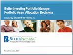 BetterInvesting Portfolio Manager Portfolio Asset Allocation Decisions