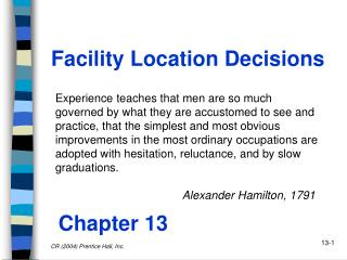 Facility Location Decisions