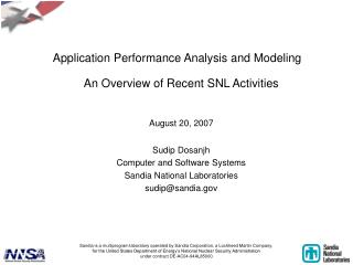 Application Performance Analysis and Modeling