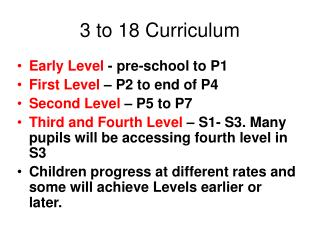 3 to 18 Curriculum
