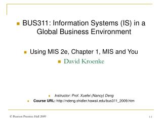 BUS311: Information Systems (IS) in a Global Business Environment