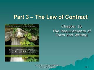 Part 3 – The Law of Contract