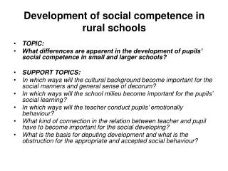Development of social competence in rural schools