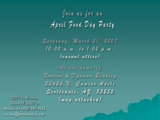 Join us for an April Food Day Party