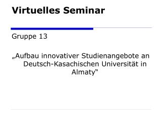 Virtuelles Seminar