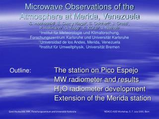 The station on Pico Espejo MW radiometer and results H 2 O radiometer development