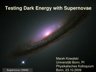 Testing Dark Energy with Supernovae