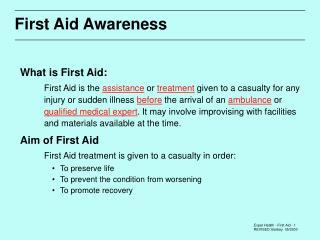 First Aid Awareness
