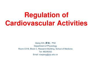 Regulation of Cardiovascular Activities