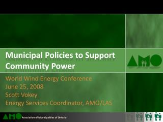 Municipal Policies to Support Community Power
