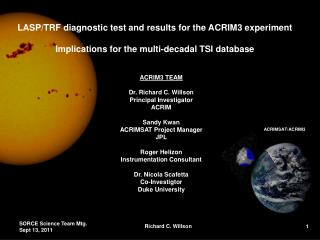 LASP/TRF diagnostic test  and results  for the  ACRIM3  experiment