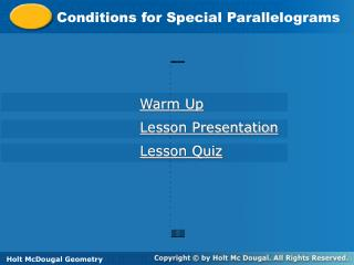 Conditions for Special Parallelograms