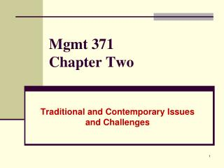 Mgmt 371 Chapter Two