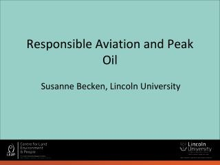 Responsible Aviation and Peak Oil