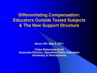 Differentiating Compensation: Educators Outside Tested Subjects & The New Support Structure