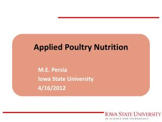 Applied Poultry Nutrition