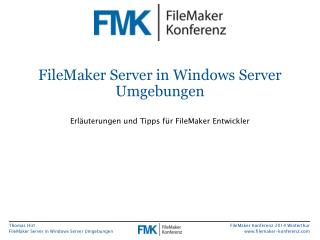 FileMaker  Server in Windows Server Umgebungen