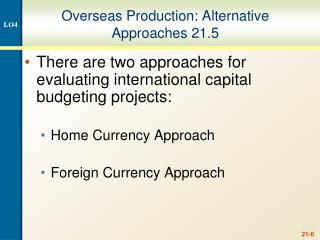 Overseas Production: Alternative Approaches 21.5