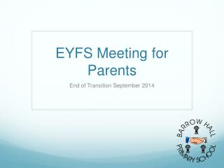 EYFS Meeting for Parents