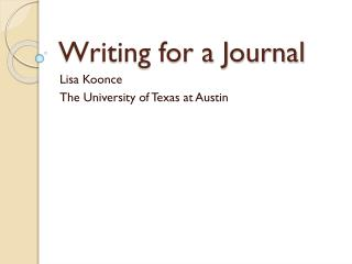 Writing for a Journal