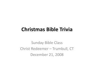 Christmas Bible Trivia