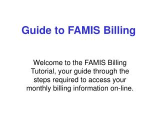 Guide to FAMIS Billing