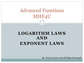 Advanced Functions  MHF4U
