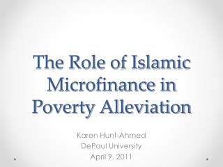 The Role of Islamic Microfinance in Poverty Alleviation