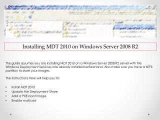 Installing  MDT 2010 on Windows  Server 2008  R2