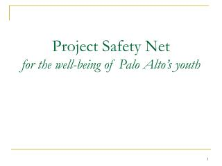 Project Safety Net for the well-being of Palo Alto's youth
