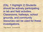 Obj. 1 Highlight 2 Students should be actively participating in lab and field activities.  Classrooms, hallways, school
