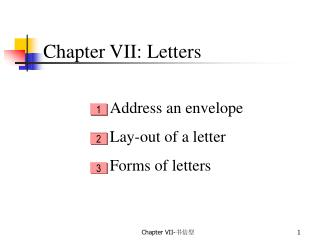 Chapter VII: Letters
