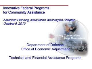 Department of Defense Office of Economic Adjustment Technical and Financial Assistance Programs