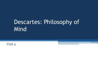 Descartes: Philosophy of Mind