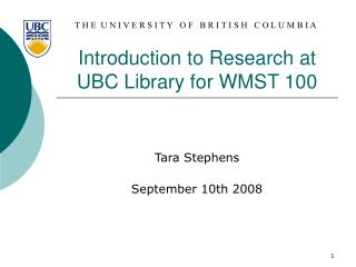 Introduction to Research at UBC Library for WMST 100